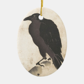 Ornamento De Cerâmica Corvo de Kawanabe Kyosai que descansa na arte de