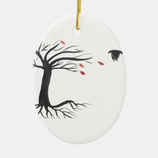 Ornamento De Cerâmica Corvo e árvore