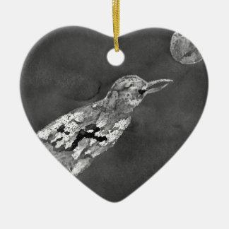 Ornamento De Cerâmica Corvo e lua