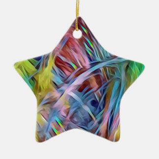 Ornamento De Cerâmica Costas do arco-íris da arte abstracta do cabelo