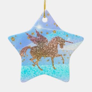 Ornamento De Cerâmica Costume do roxo do unicórnio do vôo do brilho das