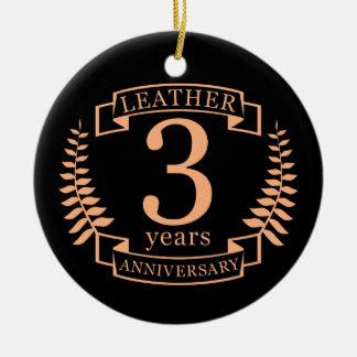 Ornamento De Cerâmica Couro 3 anos de aniversário de casamento