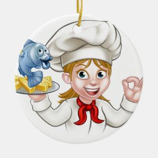 Ornamento De Cerâmica Cozinheiro chefe da mulher do peixe com batatas