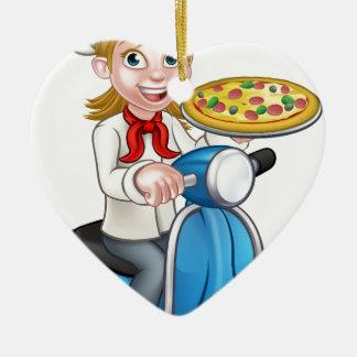 Ornamento De Cerâmica Cozinheiro chefe da pizza da mulher dos desenhos