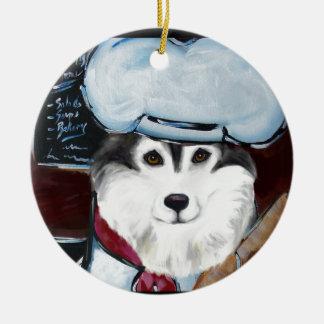 Ornamento De Cerâmica Cozinheiro chefe do Malamute do Alasca