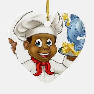 Ornamento De Cerâmica Cozinheiro chefe do peixe com batatas fritas dos