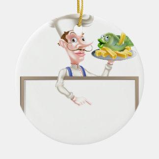 Ornamento De Cerâmica Cozinheiro chefe que guardara o peixe com batatas