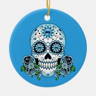 Ornamento De Cerâmica Crânio azul do açúcar