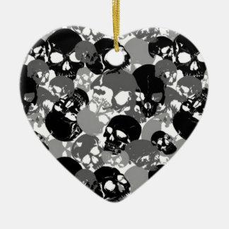 Ornamento De Cerâmica Crânio Black&White