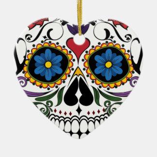 Ornamento De Cerâmica Crânio colorido do açúcar