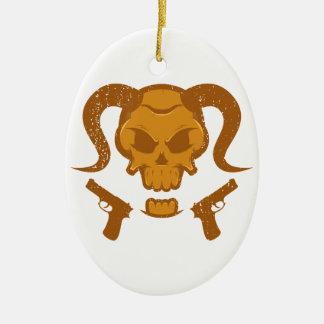 Ornamento De Cerâmica Crânio com arma