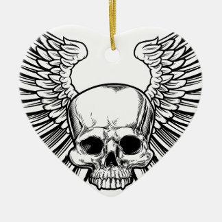 Ornamento De Cerâmica Crânio com asas