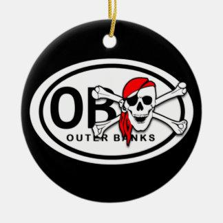 Ornamento De Cerâmica Crânio de OBX e pirata personalizados dos