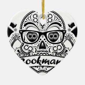 Ornamento De Cerâmica Crânio do açúcar preto & branco com vidros