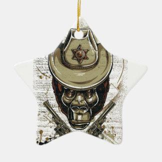 Ornamento De Cerâmica crânio do vaqueiro do macaco com armas gêmeas