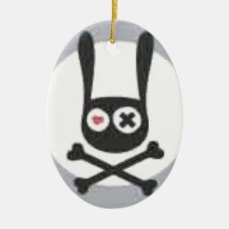 Ornamento De Cerâmica Crânio e Crossbones do coelho com coração e olho