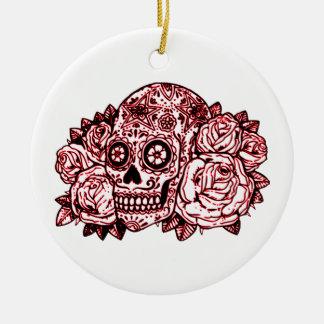 Ornamento De Cerâmica Crânio e rosas