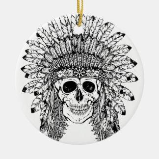 Ornamento De Cerâmica Crânio gótico do estilo tribal com gráfico da