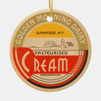 Ornamento De Cerâmica Creme:: Boné de garrafa retro customizável do