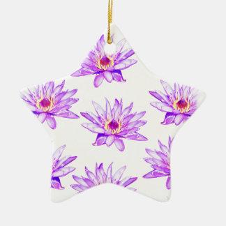 Ornamento De Cerâmica creme das flores de lótus manchado de tinta