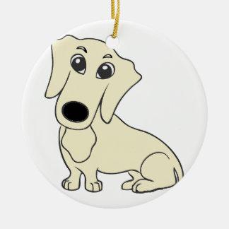 Ornamento De Cerâmica creme dos desenhos animados do dachshund