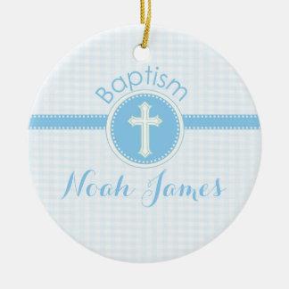 Ornamento De Cerâmica Criança azul do baptismo do deus, customizável