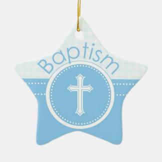 Ornamento De Cerâmica Criança do menino customizável, azul do baptismo