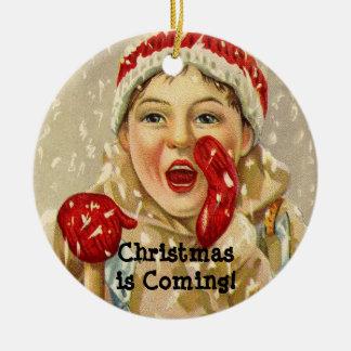 Ornamento De Cerâmica Criança do vintage no Natal personalizado neve
