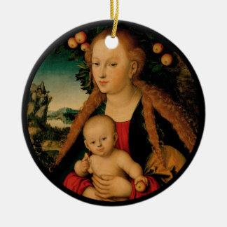 Ornamento De Cerâmica Criança do Virgin sob a árvore de Apple Cranach