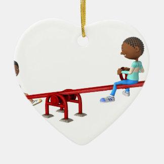 Ornamento De Cerâmica Crianças do afro-americano dos desenhos animados