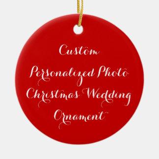 Ornamento De Cerâmica Criar o casamento personalizado costume do Natal