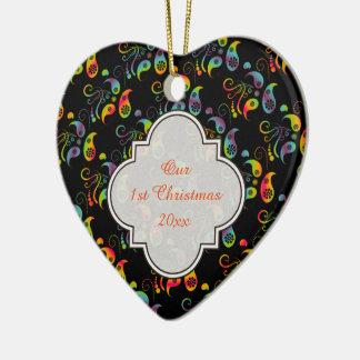 Ornamento De Cerâmica Criar seu próprio arco-íris Paisley