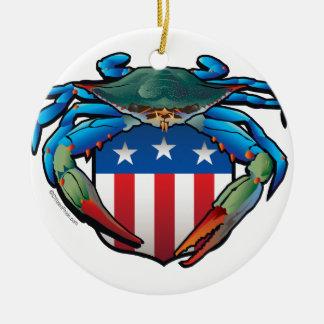 Ornamento De Cerâmica Crista dos EUA do caranguejo azul