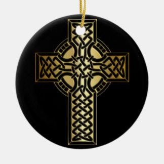 Ornamento De Cerâmica Cruz celta do nó no ouro e no preto