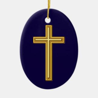 Ornamento De Cerâmica Cruz cristã do ouro contra azul escuro