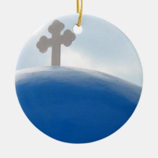 Ornamento De Cerâmica Cruz de Santorini na tarde Sun