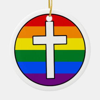 Ornamento De Cerâmica Cruz do arco-íris