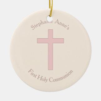 Ornamento De Cerâmica Cruz do rosa Pastel do comunhão