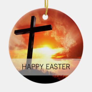 Ornamento De Cerâmica Cruz religiosa da páscoa no por do sol