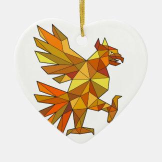 Ornamento De Cerâmica Cuauhtli Glifo Eagle que luta o baixo polígono da