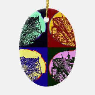 Ornamento De Cerâmica cup - city 3 point art perspective style pop