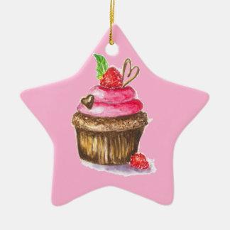 Ornamento De Cerâmica Cupcake bonito e do divertimento do chocolate e da