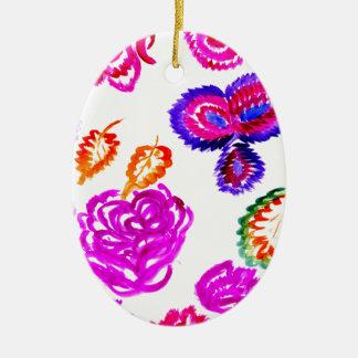 Ornamento De Cerâmica Cursos coloridos 2 das flores