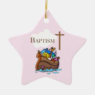 Ornamento De Cerâmica Customizável, a arca de Noah do baptismo do bebé