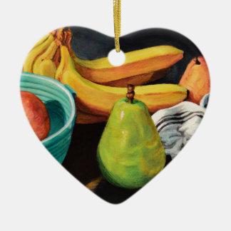 Ornamento De Cerâmica Da banana de Apple da pera vida ainda