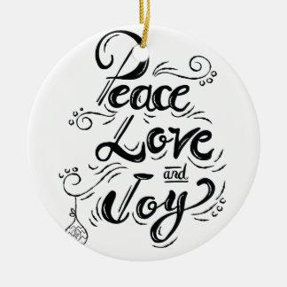 """Ornamento De Cerâmica Da """"Natal da alegria do amor paz"""" - presentes do"""