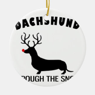 Ornamento De Cerâmica dachshund através da neve