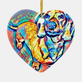 Ornamento De Cerâmica Dachshund colorido do pop art