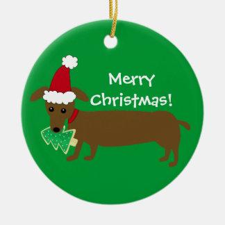 Ornamento De Cerâmica Dachshund do Feliz Natal