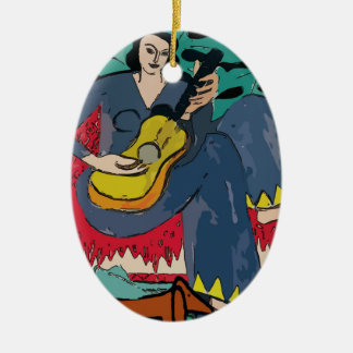Ornamento De Cerâmica Dachshund e mulher Fauvist abstrato